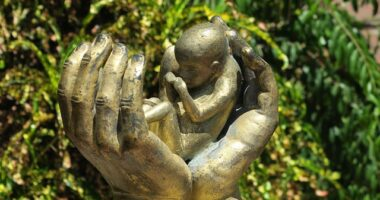 sculpture of an aborted baby in protective hands